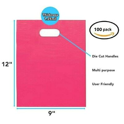 """100 Pack 9"""" x 12"""" x 1.25 mil Thick - Pink Merchandise Plastic Shopping Bags"""