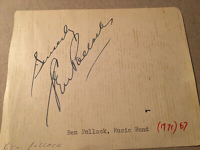 """Ben Pollack Autograph, """"Father Of Swing"""" Big Band Leader"""