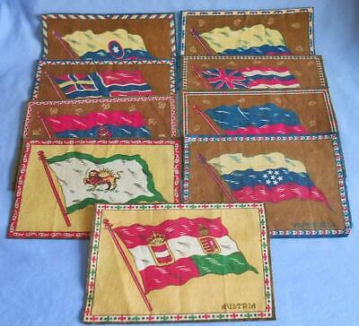 9 Lot Assorted Antique World Flag Tobacco Blanket Felts Persia Norway Austria +