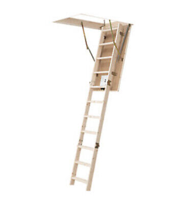 3 Section Insulated 12 Tread Timber Folding Loft Ladder Kit