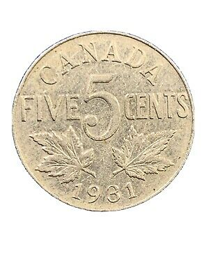1931 Canada 5 Cents Nickel Coin King George V *1462