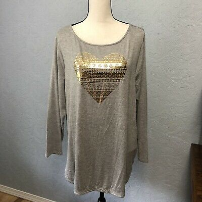 Lane Bryant Size 14/16 Long Sleeve Top Gold Foil Heart Print Soft NWT G19P