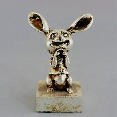 Collect Old Miao Silcer Hand-Carved Lifelike Lovely Rabbit Decorate Seal Statue
