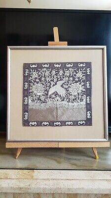 ANTIQUE CHINESE RANK BADGE, 19th Cent. embroidery, excellent condition framed.