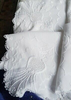 Vintage WHITE Hand EMBROIDERED SCOTTISH THISTLES Tray Cloth Tablecloth