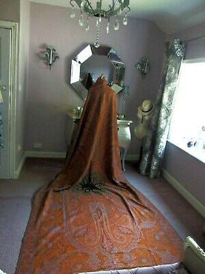 antique Victorian crinoline shawl hand woven wool signed Joseph Chanel textile
