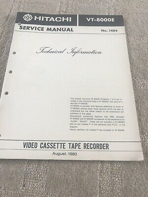 Hitachi VT-8000E Service Manual OnTechnical Information No 1404- Technical Info