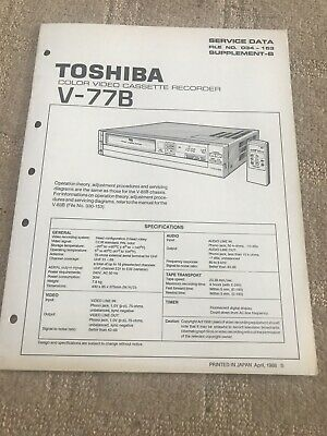 Toshiba V-77B service manual For Color VCR ( Supplement -B)