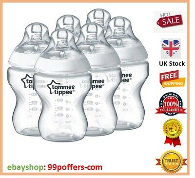 6 x Tommee Tippee Closer To Nature Clear Baby Feeding Bottles Set 260ml 0m+