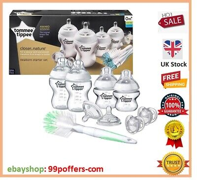 Tommee Tippee Closer to Nature Newborn Starter Kit Set Clear Anti Colic BPA Free
