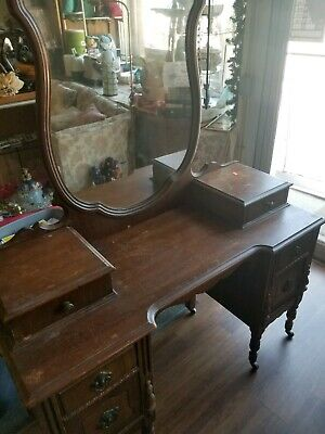 Antique 1930's  Vanity Dresser with Mirror by Statesville furniture company
