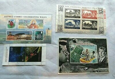 4 Unmounted Postage Stamp Mini Sheets From Space Tchad & GB Castles