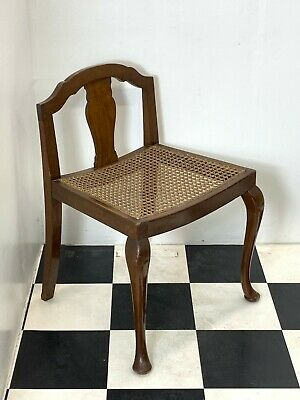 Vintage walnut bergere piano stool seat dressing table hall chair cabriole legs