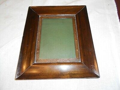 Antique Picture Frame  Dark Wood With Hammered Copper
