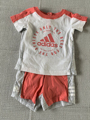 Adidas Baby Girls Shorts And T-shirt Age 3 - 6 Months