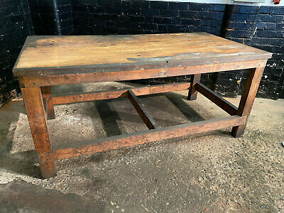 Vintage Mid Century Industrial Workbench Work Table - Reclaimed Dining Pub Table