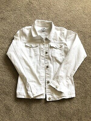 Girls White Denim Jacket Age 12/13 Years - Outstanding Condition