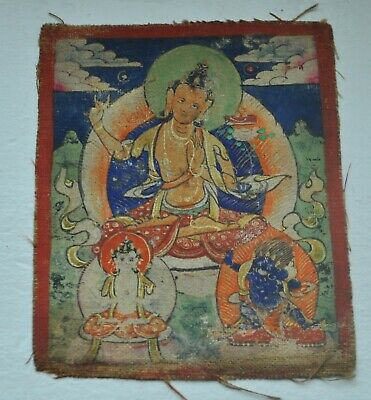 Mongolian Tibetan Antique Mini Tsakli Thangka Painting 3 Buddhas Detailed!