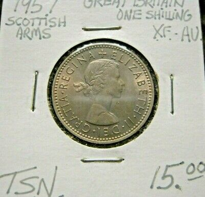 1957 Great Britain One Schilling Scottish Arms Coin