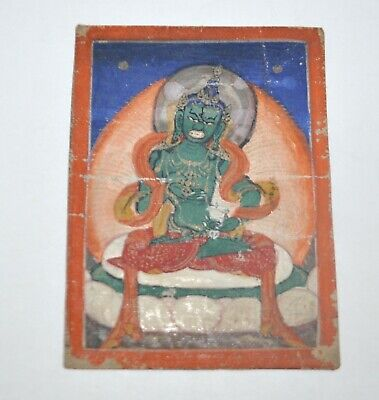 Mongolian Tibetan Antique Miniature Tsakli Thangka Wrathful Deity Painting RARE