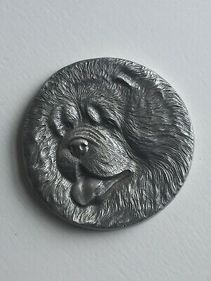Chow Chow Dog Head Metal Pewter
