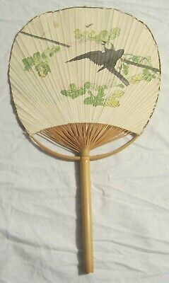 Japanese Hand-Painted PADDLE FAN or UCHIWA - Bamboo & Paper -- Bird in a Tree