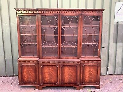 Huge antique Georgian style Bevan Funnell glazed bookcase display cabinet 2.2m