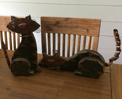 2 Wooden Kitty Cats with metal faces and tails