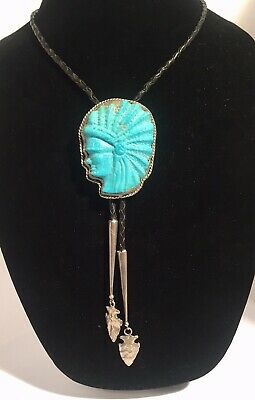 Large Hand Carved Turquoise Indian Chief Gloria And Bob Bates Bolo Vintage 1980