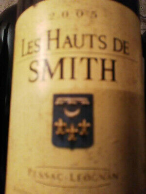 Splendide bouteille vin rouge Hauts de Smith 2005 du Ch. Smith Haut Lafitte