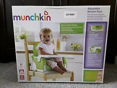 Used Munchkin Adjustable Booster Seat For Meals, Includes Box, Straps & Table