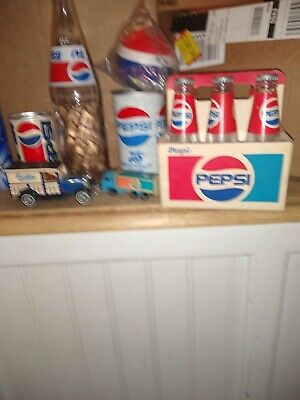 Vintage Pepsi Cola lot even other online if not sold. A little dusty but OK.