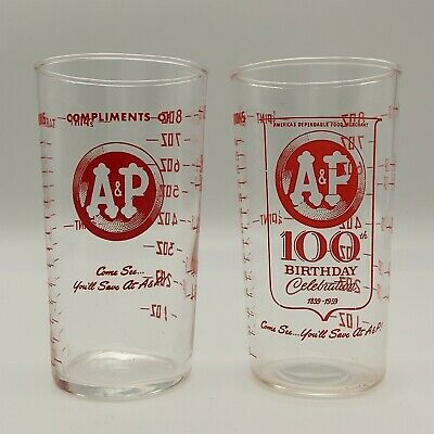 2 Vintage A&P Grocery Store Measuring Drinking Glasses