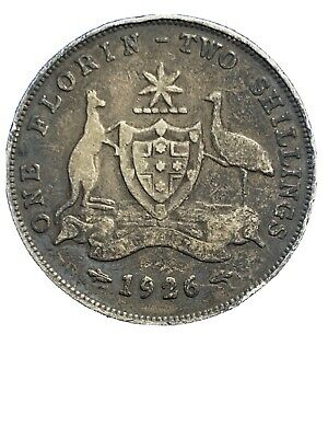 1926 Australia 🇦🇺, King George V, Silver One Florin - Two Shillings *1739
