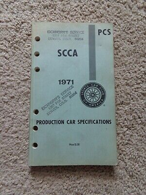 SCCA PCS 1971 Production Car Specifications rule book sports car vintage racing
