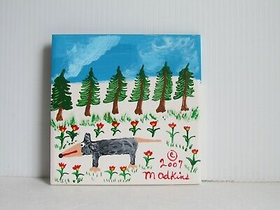 Folk Art Original Painting Ceramic Tile By Minnie Adkins Signed
