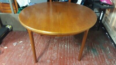Mid century teak retro round extending dining table by A.H. Mcintosh