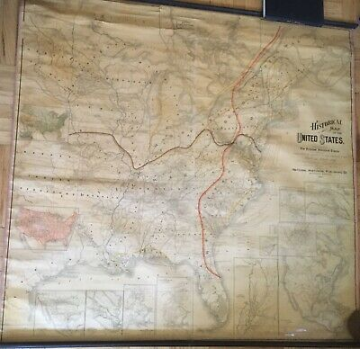 Historical Map of the United States- LG RARE Wall Map-E.A. Wheeler Goff--1887