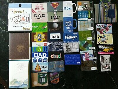 Lot of 34 Father's's day Gift Cards from various stores + 2 Starbucks post cards