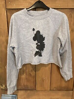 Talula Disney Ladies Girls Grey Cropped Hoodie Size Small