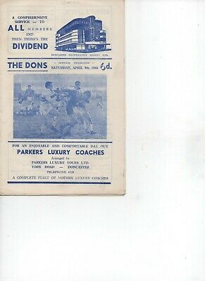 R.L. Programme  Doncaster v Rochdale 16-4-66 (dated 9-4-66),