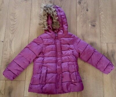 Zara Girl's Size 5-6 Years Pink Puffer Coat Zip Up Hooded Parker Jacket