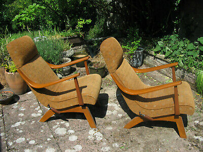 Greaves and Thomas - Pair of rare vintage low rocking chairs