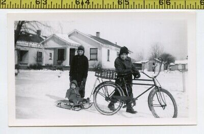 Vintage 1940's BICYCLE photo / Morons Bike Tied 2 Babys Sled w Basket 4 Her Body