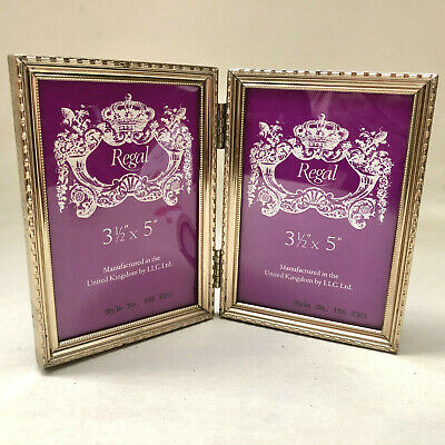 Vintage Pair Of Hinged Gold Coloured Metal Photo Frames, Standing Picture Frame