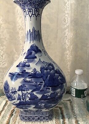 "Vintage Chinese Vase White/Blue With Splendid Oriental Scenes Large 18"" H"