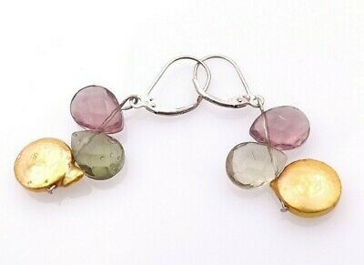 """Pearl & Faceted Glass Earrings Sterling Silver  ~ 1.5"""" ~ 925 ~ French Clips"""