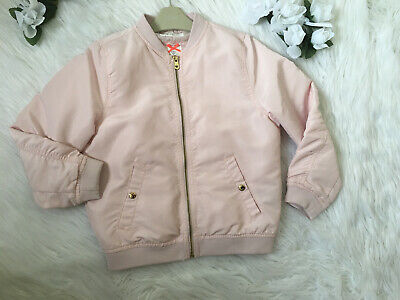H &M Girls  Pink Bomber Jacket Size 7-8 Years Shiny Satin Pockets Zip Padded VGC
