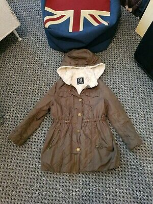 Fab River island Girls Faux Fur Hood & Lined quilted Brown jacket coat Age 7