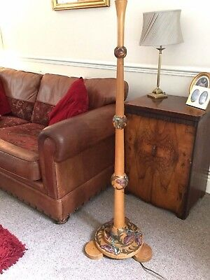 Art Nouveau Period Solid Sycamore Floral Design Standard Floor Lamp Stand